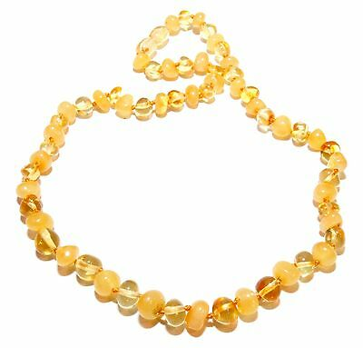 Genuine Baltic Amber Beads Necklace for Adult Honey Butter 44 - 46 cm