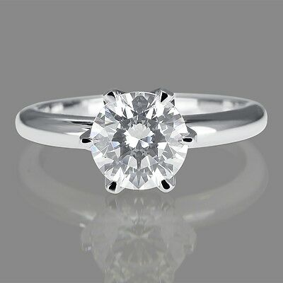 1/2 CT Natural Diamond Engagement Ring Round Cut F/I2 14K White Gold Size 4-9
