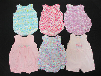 Baby Girl Infant Sleeveless One Piece Romper Summer LOT 6-9 Months