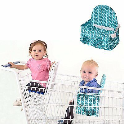 Buggy Bench Shopping Cart Seat in Caribbean Blue for Baby, Toddler, and Twins Up
