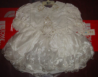 New Baby Girls Christening Baptism Wedding Formal Dress Gown 18 Months White 18m
