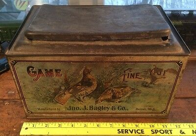 Vintage Tobacco Game Fine Cut Tobacco Store Tin Counter Display Advertising