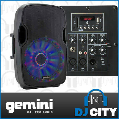 "Gemini AS-15BLU Powered 15"" PA DJ Speaker with Bluetooth / MP3 Player / LEDs"