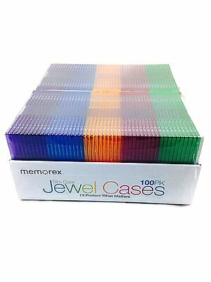 Memorex Slim CD Jewel Cases 100 Pack 5.2mm Assorted Colors - FREE SHIPPING