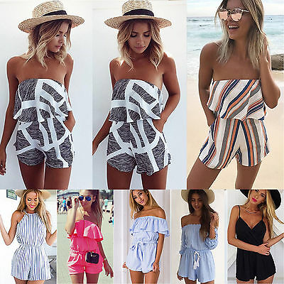 Womens Holiday Mini Playsuit Ladies Jumpsuit Romper Summer Beach Shorts Sundress