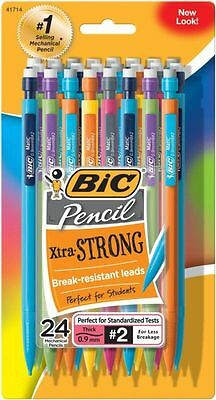 BIC Mechanical Pencil Extra Strong Colorful Barrels Thick Point .9 mm 24-Count