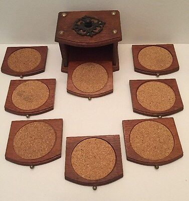 Vintage Wooden And Cork Coasters Set Of Eight With Storage Box Holder