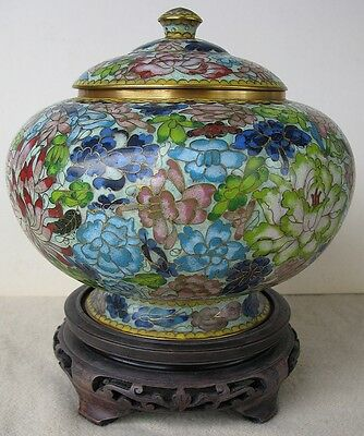 Chinese? Vintage Old Estate Covered Floral Cloisonne Bowl Pot Jar w Wood Stand