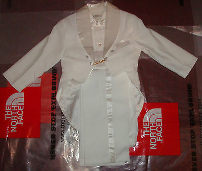 New Boys Christening Baptism Wedding White Suit Tuxedo Tail 5 Pieces Outfit 6T
