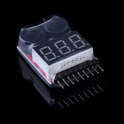 1S-8S RC Lipo Li-ion Battery Volt Meter Low Voltage Buzzer Alarm Tester