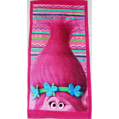 100% Cotton Kids Children Girls Trolls Bath Beach Pool Towel 70x136cm