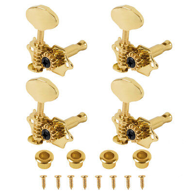Golden 2R2L Machine Heads Open Gear for 4 String Instruments Slotted Ukulele