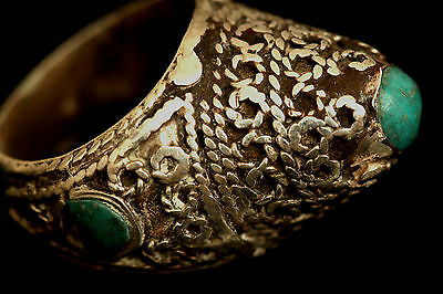 Near Eastern Antique Torqouise Seljuk Solid Silver Ring US Size:8