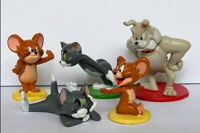 Tom And Jerry Funny cartoon cake topper Action Figure Toys Set of 5pcs Cute