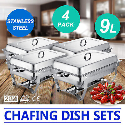 4 Pack Chafing Dish Sets Buffet Catering  Folding Chafer With Tray 9 Quart