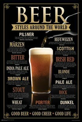 BEER STYLES AROUND THE WORLD POSTER PRINT 24x36 FAST FREE SHIPPING