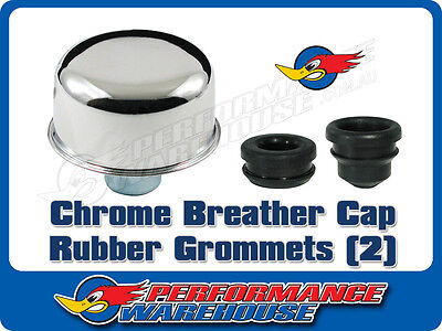 Chrome Breather Cap & Grommet Set Suit Steel Aftermarket Valve/rocker Covers