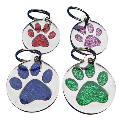 Print Tag Dog Cat Pet ID Tags Reflective Personalised Engraved Glitter Paw Shape
