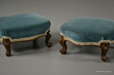 Pair Antique Victorian Carved Walnut Footstools