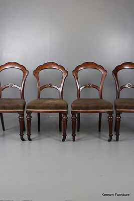 Set 4 Victorian Walnut Dining Chairs