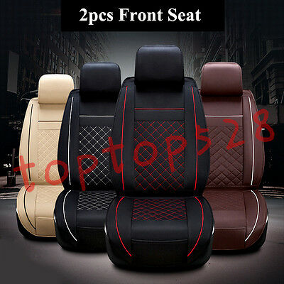 2pcs Luxury Front Seat PU Leather Car Seat Cover Cushion 3D Surround Breathable