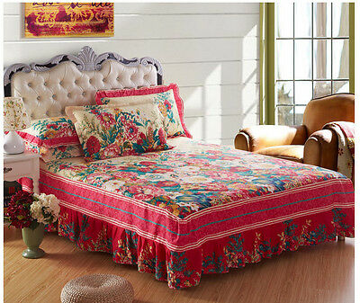 100% Cotton Valances Sheet Bed Skirt Single/Queen/King/Super King Size