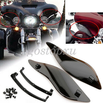 Smoke ABS Wings Wind Shield Air Deflectors For Harley Touring Street Glide 14-16