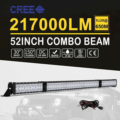 "50""inch 672W CREE Curved LED Light Bar 6D Flood Spot Offroad UTE 4x4WD Truck 52"""