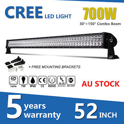 "52""INCH 700W Philips LED WORK LIGHT BAR SPOT&FLOOD OFFROAD 4WD 4X4 ATV TRUCK 50"""