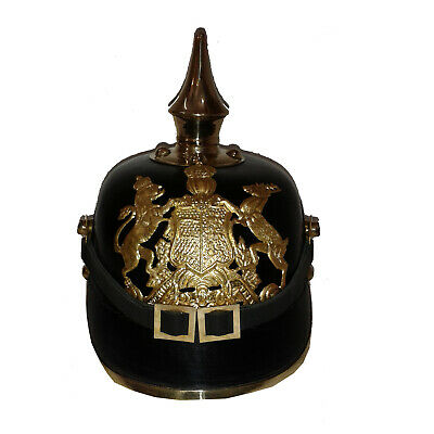 German Pickelhaube Prussian Leather Helmet Eagal Imperial Officer's Garde