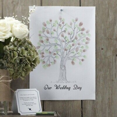 Ginger Ray Finger Print Tree Wedding Party Guest Book Keepsake Ink Pad Poster