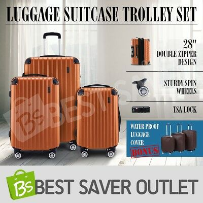 Luggage Suitcase Trolley 3pc Set TSA Lock Carry On Bag Lightweight-Orange