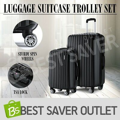 Luggage Suitcase Trolley 2pc Set TSA Carry On Bag Hard Case Lightweight-Black