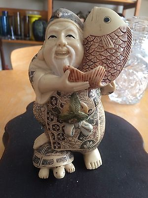 Japanese Meiji Carved Stained Resin Scrimshaw Okimono Sculpture Figure