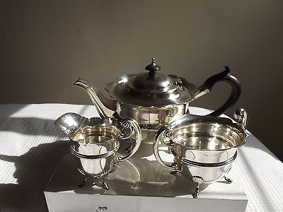 Antique Solid Silver three piece circular tea set, Birmingham 1904/5, 712g