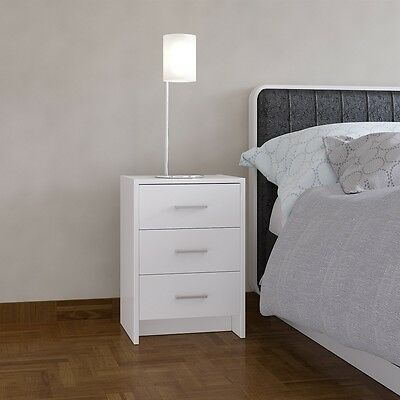 Bedside Table White 3 Drawer Bedside Cabinet Night Stand Silver Handles