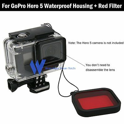 45M Waterproof Housing Case+Diving Red Lens Filter For Gopro Hero 5 Black Camera