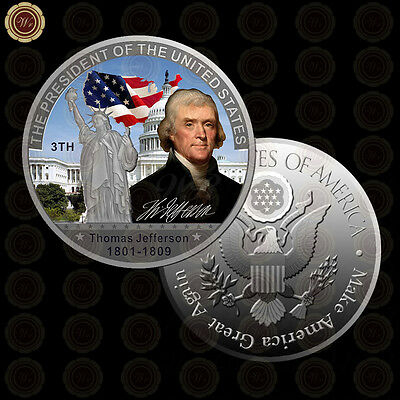 WR 3TH American President Thomas Jefferson Silver American Coins and Values Gift