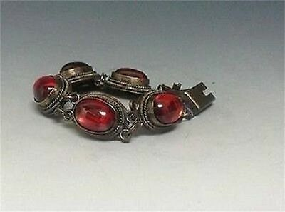 Exquisite Chinese Old Collectibles red Gem Bracelet Statue