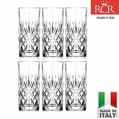 RCR Crystal Melodia Highball Glasses 350ml Hi Ball Tumblers Sparkler Set of 6