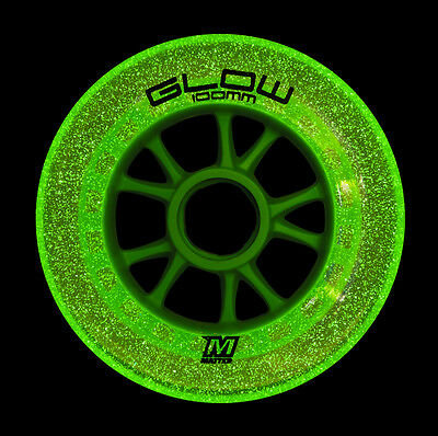 8x Matter Glow Wheels F1 100mm! Powerslide Speed Skate Rollen!