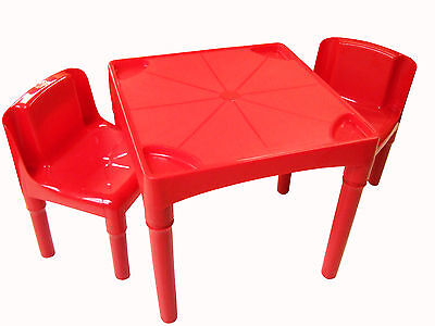 Red Junior Children's Kids Plastic Table and Chair Set Removable Legs