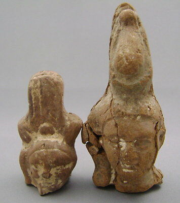 TWO ANCIENT EGYPTIAN TERRACOTTA HEADS Ex. Gustave Jequier 1868-1946