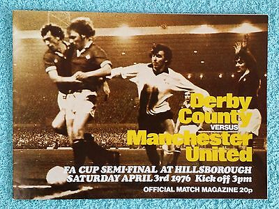 1976 - FA CUP SEMI FINAL PROGRAMME - DERBY COUNTY v MANCHESTER UNITED