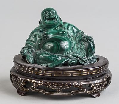 Fantastic Antique or Vintage Chinese Malachite Buddha Stone Carved Figure Stand