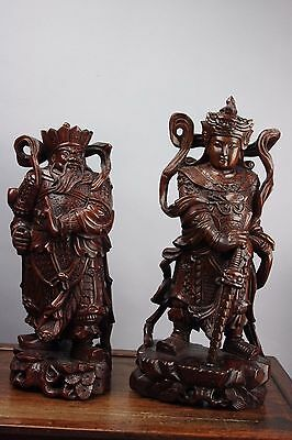 20th C. Chinese Two Hardwood Carved Warriors