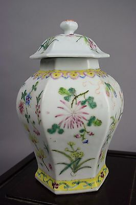 19th/20th C. Chinese Famille-Rose Hexagonal Covered Vase