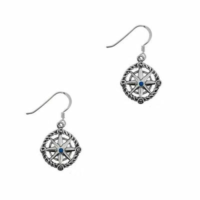 Outlander Inspired Compass Silver Drop Earrings With Sapphire Colour Stone 1010