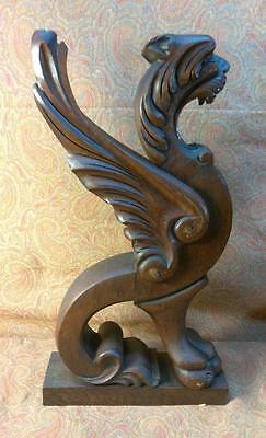 Pair Old Antique Wood Carved Dragons Griffins Oak Architectural Salvage Carving