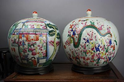 19th C. Pair Chinese Famille-rose Hundred Boys Covered Jars
